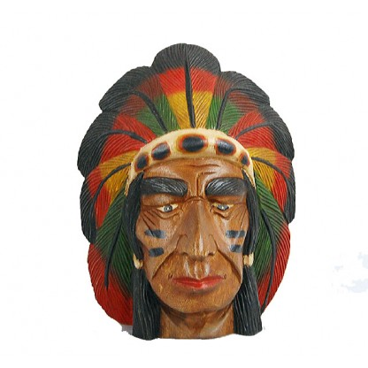 Indian Chief Carved Head Wood