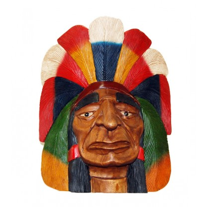 Wood Indian Chief Carved Head