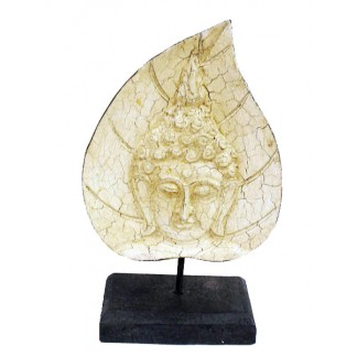 White Buddha Face on Leaf 1