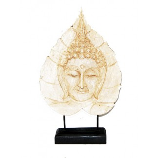 White Buddha Face on Leaf 2
