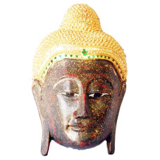 Large Carved Buddha Face in Red