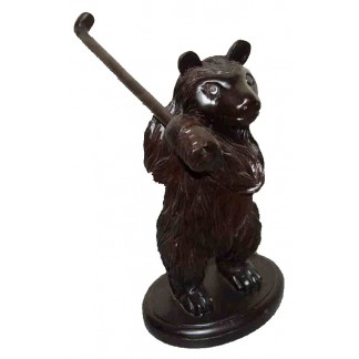 Hand Carved Golfing Bear