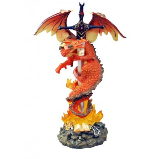 Orange Dragon with a Sword