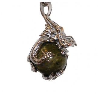 Unakite and Dragon Pendant