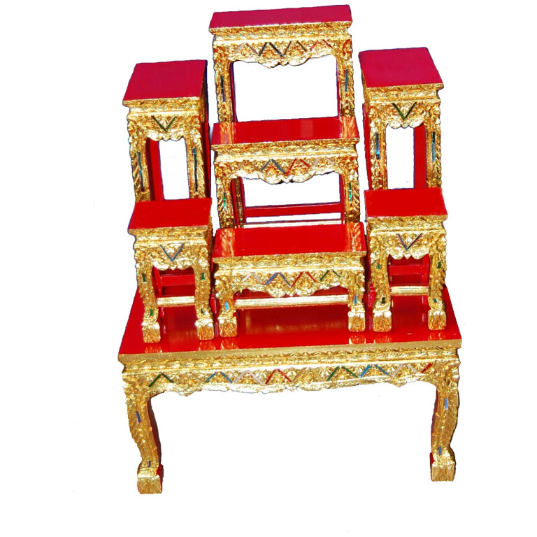 8 Piece Red Altar Table Set-2