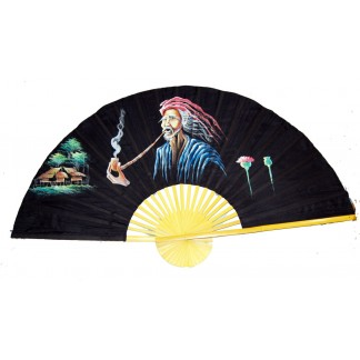 Hand Painted Fan of Man Smoking