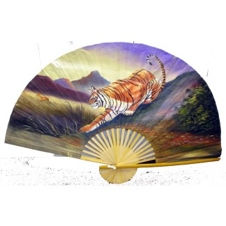 Hand Painted Fan With Tiger