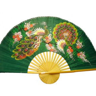 Hand Painted Fan w 2 Peacocks