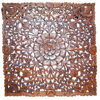 Carved Teak Square Wall Decor-