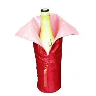 Pink-Red Fabric Bottle Bag