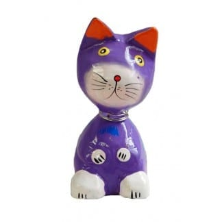 Purple Bobble Head Cat