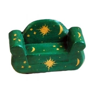 Wood Two Sitter Chair-Green