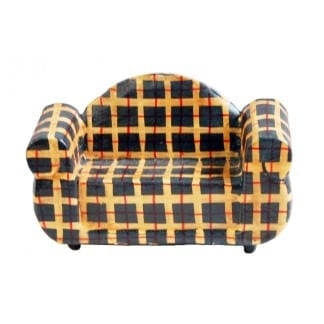 Wood Two Seater Chair Stripes