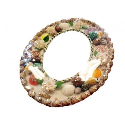 Oval Shell Frame Mirror