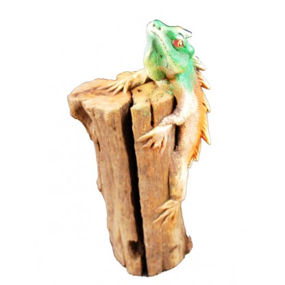 Green synthetic Iguana on a Log